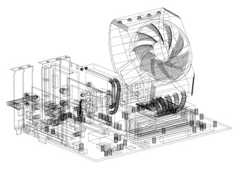 Motherboard Graphic Card and Processor Design Architect Blueprint - isolated