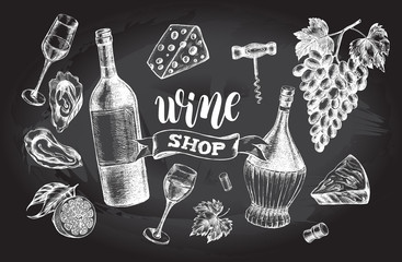 Wine concept set. Bottles, glasses, cork, grape bunch, corkscrew, oysters, cheese. Ink hand drawn Vector illustration with brush calligraphy style lettering. Drink element for menu design.