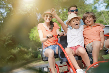 Family having a kart ride at the park