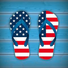 Flip-Flops USA Flag Wooden Background
