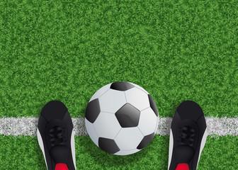 foot - football -  ballon - terrain - chaussure - ligne - vue du dessus - fond - symbole - pelouse