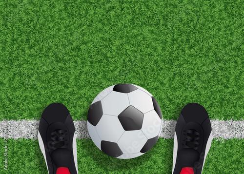 Ligne Vue Football Du Ballon Foot Terrain Chaussure q0IHURw