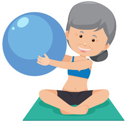 A Grandmother Doing Yoga on White Background