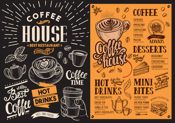 Coffee restaurant menu blackboard. Vector drink flyer for bar and cafe. Design template with vintage hand-drawn food illustrations.