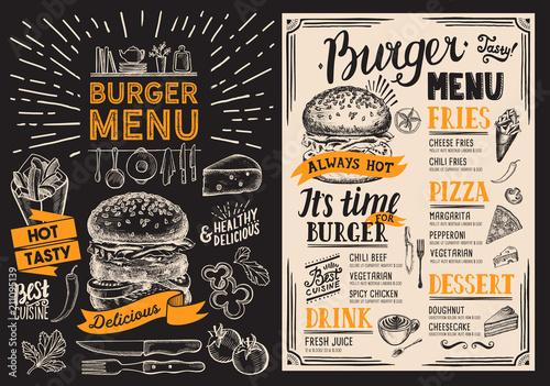 burger restaurant menu food flyer on blackboard background for bar
