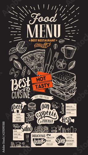 food menu for restaurant vector food flyer for bar and cafe on