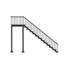 Black iron staircase with railing. Architectural construction. Flat vector element of building interior or exterior. Side view