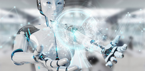 White woman cyborg creating artificial intelligence 3D rendering
