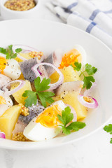 Potato salad with herring, egg, onion, tasty snack with mustard in white plate