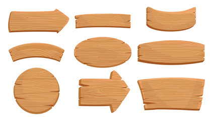 Flat vector set of various wooden signboards and direction arrows. Natural texture. Signs with place for your messages. Mobile game assets