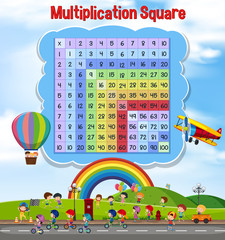 Multiplication square with children playing