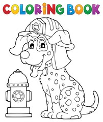 Canvas Prints For Kids Coloring book firefighter dog theme 1