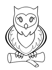 Owl. Linear pattern for coloring or children's book. Lovely stylized owl.
