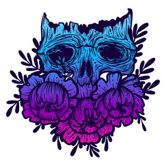 Vector illustration with a human skull and flowers. Gothic brutal skull. For print t-shirts or book coloring.