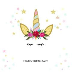 Unicorn Birthday invitation. Baby shower, party invitation greeting card