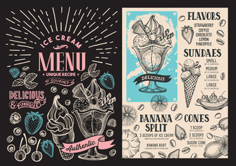 Ice cream restaurant menu. Vector dessert food flyer for bar and cafe. Design template with vintage hand-drawn illustrations on blackboard background.