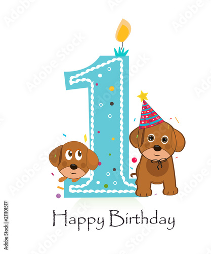 Happy First Birthday With Cute Dogs Baby Boy Greeting Card Stock