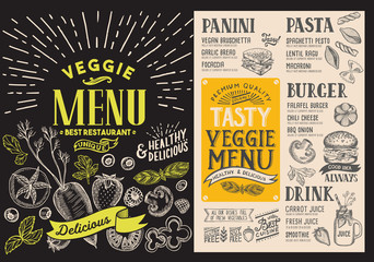 Menu for vegetarian restaurant. Vector food flyer for bar and cafe. Design template with food hand-drawn graphic illustrations.