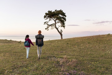 Full length rear view of mother and daughter hiking on field against sky during sunset