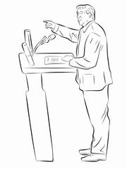 illustration of politician, speaker, vector draw