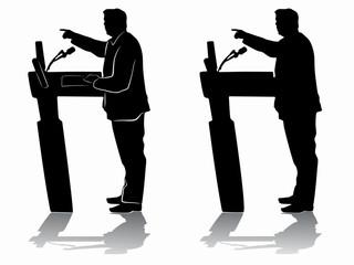 silhouette of politician, speaker, vector draw