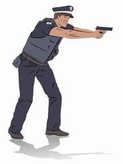illustration of a policeman with a gun, vector draw