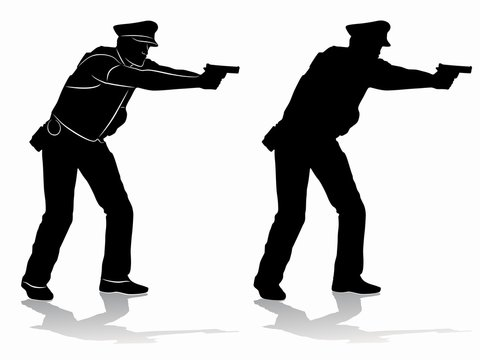 silhouette of a policeman with a gun, vector draw