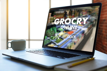 online shopping concept supermarket online  phone grocery shopping health food