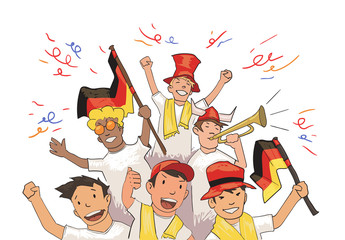 National football team supporters cheering for the players. Football fans with German national attributes. Colored flat vector illustration. Horizontal on white background.