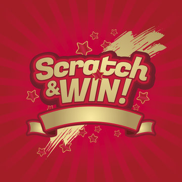 Scratch and win letters. Scratched effect background and stars. Ribbon for your text. For tickets, signs, promotion announcements, banners, poster. Golden colors letters.