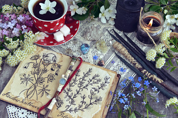 Witch book with magic and healing herbs, black candles and cup of tea. Occult, esoteric and divination still life. Halloween background with vintage objects and magic ritual