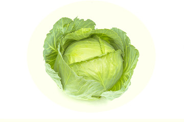 Fresh organic green cabbage, garden vegetable, isolated on white background