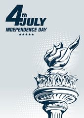 4th july independence day, Torch of the Statue of Liberty, vector illustration, you can place relevant content on the area.