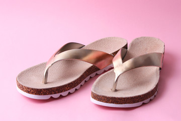 close-up female slippers on a colored background. women's shoes