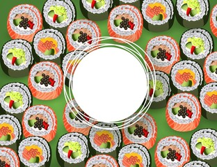 Sushi banner with rolls pattern on green background and white round empty space for text - realistic japanese traditional seafood restaurant concept design. Vector illustration.