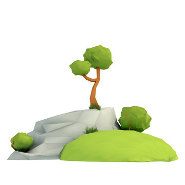 3d composition. Low poly render. Tree, bush, grass and rock. isolated on white background