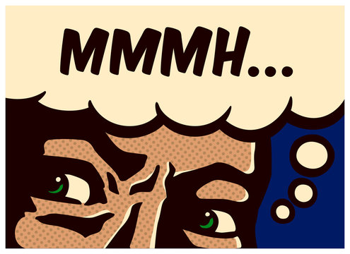 Pop art vintage comic book perplexed and suspicious man thinking and mumbling vector illustration