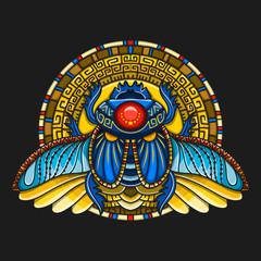 Egyptian scarab symbol of pharaoh, gods Ra, sun. Mythology t-shirt design, tattoos of ancient Egypt