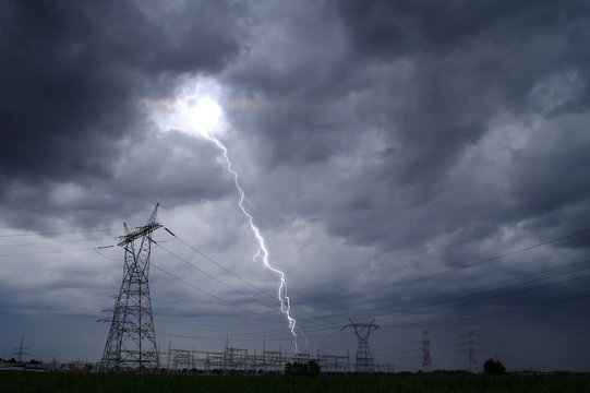Lightning storm on electric tower