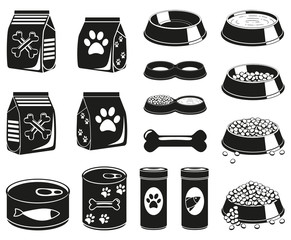 16 black and white pet food silhouette elements