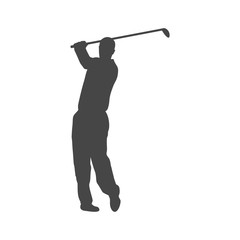 Silhouette of a golf player, Simple vector icon