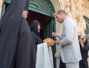 Britain's Prince William visits the Church of St Mary Magdalene, a Russian Orthodox church located on the Mount of Olives, near the Garden of Gethsemane, where he paid his respects at the tomb of his great-grandmother, Princess Alice, in east Jerusalem