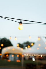 warm light bulbs at the evening event
