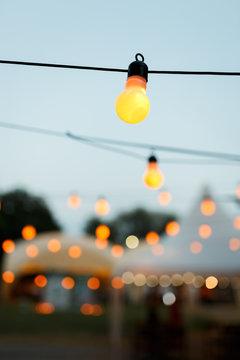 warm light bulbs at the evening event