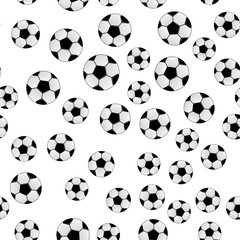 Soccer balls isolated on white background. Football seamless pattern. Cartoon sport vector illustration.Design template for your design projects.