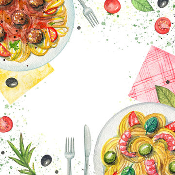 Composition with two kinds of pasta on a plate, napkins, vegetables and tableware. Watercolor hand painted illustration