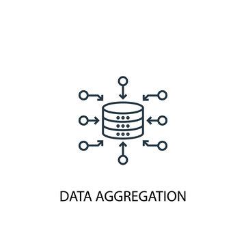 Data Aggregation concept line icon. Simple element illustration