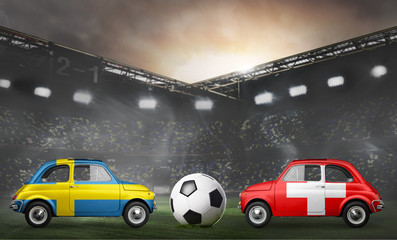 Sweden and Switzerland flags on cars with soccer or football ball at stadium