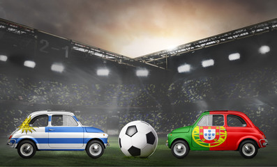 Uruguay and Portugal flags on cars with soccer or football ball at stadium