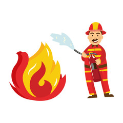 Fireman in fire protection uniform, helmet spraying fire holding fire extinguisher. Male firefighter character smiling icon. Emergency, rescue service worker. Vector isolated illustration.